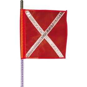 Buggy Whip 8' LED Whip w/ Orange Reflective X Flag and Threaded Base