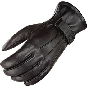 Power Trip Jet Black Lined Leather Gloves