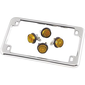 Chris Products License Frame with 4 Amber Reflectors