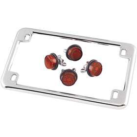 Chris Products License Frame with 4 Red Reflectors