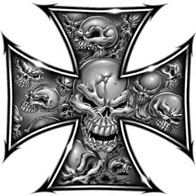 Lethal Threat Iron Cross Skulls Mini Sticker