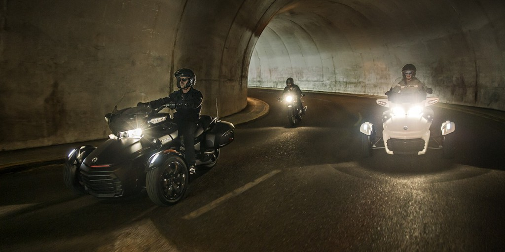 Three Wheel Motorcycles Driving in Tunnel
