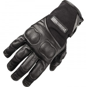 Speed And Strength Tough As Nails 2.0 Leather/Textile Gloves leather and denim frame. Molded high impact knuckle protector. Reinforced leather palm. Hook & loop wrist closure.