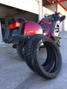 Bill's 2001 Honda ST 1100 is ready for its new Dunlop tread.