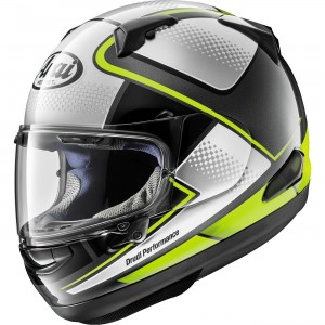 Arai Quantum-X Box Full Face Helmet - $829.95 Peripherally Belted-Super Complex Laminate Construction. VAS (Variable Access System) Max Vision faceshield provides better visibility in all seasons.