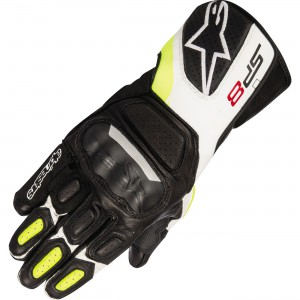Alpinestars SP-8 v2 Leather Gloves - $99.95 Premium full grain leather construction. Advanced over molded polymer knuckle protector. Perforated leather cuff, plus perforated finger sidewalls. EVA foam padding on thumb, wrist, back of hand, finger and palm.
