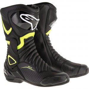 Alpinestars SMX-6 v2 Vented Boots - $269.95 Upper incorporates innovative front, rear bellow and rear calf zones for superior levels of flexibility. TPU lateral ankle brace protection for improved structural integrity and protection against impact.