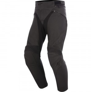Alpinestars Jagg Airflow Vented Leather Pants - $399.95 Reinforced seat area and strengthened stitching for durability and abrasion resistance. C.E. certified interior protection. Extensive stretch polyfabric panels on the inside leg and crotch improve flex fit.