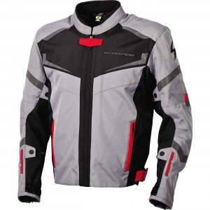 Scorpion EXO Phalanx Textile Jacket - $229.95 600 Denier water resistant outer shell construction. SASTEC C.E. certified armor in elbows and shoulders. NightViz reflective areas. Large zippered pit vents and rear exhaust vents. Removable EverHeat thermal liner.