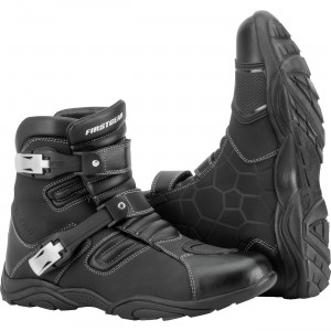 Firstgear Kathmandu Lo Boots Waterproof breathable full leather upper. Hardened ankle, toe, and shin protectors. Dual buckle closure is fully adjustable. 8