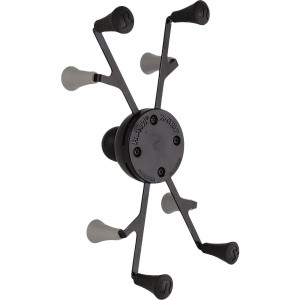 """RAM Mounts Universal X-Grip Small Tablet Cradle Marine grade stainless steel components and high strength composite construction. Spring loaded cradle and 1"""" rubber ball connect to the back of the base. Min/Max dimensions: 2.5"""" W x 7"""" H x 0.875"""" D / 5.75"""" W x 4"""" H x 8.875"""" D."""