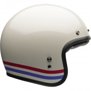 Bell Helmets Custom 500 Stripes Open Face Helmet Low profile fiberglass composite shell. Multi-density EPS liner. Antibacterial quilted micro suede interior. Five snap pattern for aftermarket shields and visors.
