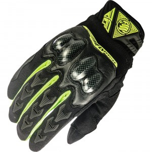 Fly Racing Patrol XC Hi-Viz Gloves Made with a four way stretch and Lycra construction. Impact resistant, hard knuckle construction with additional mid-layer impact foam. Double layered, reinforced palm and thumb.