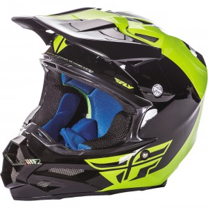 Fly Racing F2 Carbon Pure Hi-Viz Helmet Constructed from state of the art, aircraft grade woven carbon fiber and Kevlar. Dual density EPS (Expanded Polystyrene) liner. Eleven intake and four exhaust vents.
