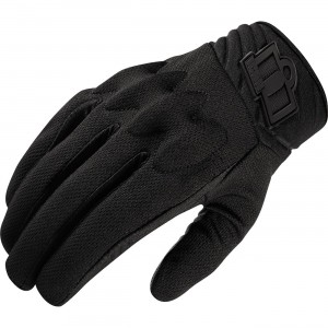 Icon Anthem 2 Stealth Textile Gloves Made from a mesh material with a Battlehide goatskin palm. D3O knuckle insert. Neoprene cuff with a Hook & Loop closure.