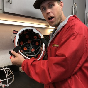 Travis is impressed by the bright orange low friction discs that sit under the damping towers.